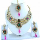Indian Bridal Saree Jewelry Set Multicolor Stones NP-231