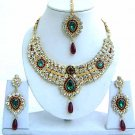 Indian Bridal Saree Jewelry Set Multicolor Stones NP-234