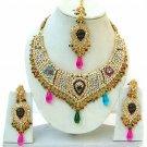Indian Bridal Saree Jewelry Set Multicolor Stones NP-248