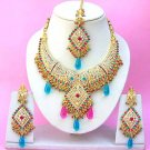 Indian Bridal Saree Jewelry Set Multicolor Stones NP-256