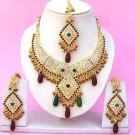 Indian Bridal Saree Jewelry Set Multicolor Stones NP-257