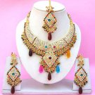 Indian Bridal Saree Jewelry Set Multicolor Stones NP-260