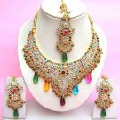 Indian Bridal Saree Jewelry Set Multicolor Stones NP-278