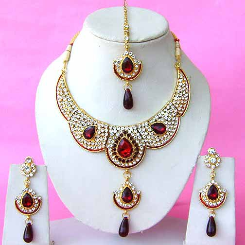 Indian Bridal Saree Jewelry Set Multicolor Stones NP-290