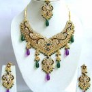 Indian Bridal Saree Jewelry Set Multicolor Stones NP-292