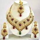 Indian Bridal Jewelry Necklace Set Multicolor Stones VS-1624