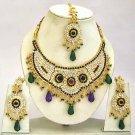 Indian Bridal Jewelry Necklace Set Multicolor Stones VS-1645
