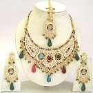 Indian Bridal Jewelry Necklace Set Multicolor Stones VS-1648