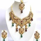 Indian Bridal Jewelry Necklace Set Multicolor Stones VS-1657