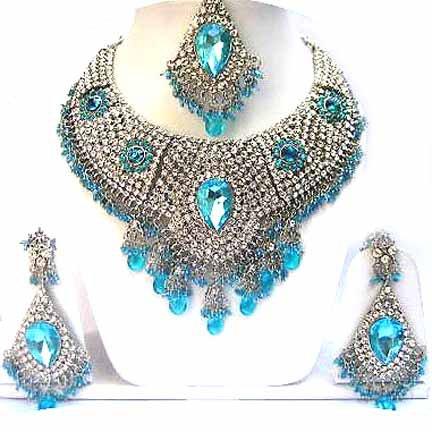 Bridal Jewelry Necklace Set Azure Blue Stones NP-14