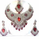 Jewelry Necklace Set Bridal Ruby Red Stones NP-16