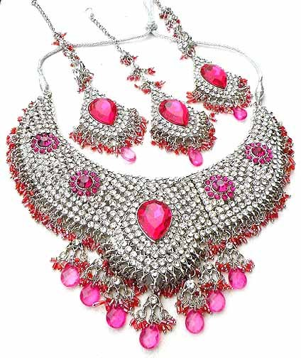 Rose Pink Bridal Jewelry Necklace Set w Stones NP-19