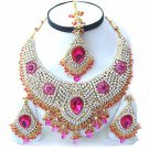 Indian Bridal Jewelry Necklace Set w Magenta Stones NP-21