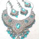 Diamond Indian Bridal Jewelry Necklace w Blue Stones Set NP-25