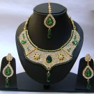 Indian Bridal Wedding Jewelry Set Green color Stones NP-344