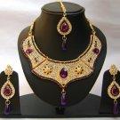 Indian Bridal Wedding Jewelry Set Purple color Stones NP-346