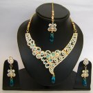 Indian Bridal Wedding Jewelry Set Diamond and Sky Blue color Stones NP-420