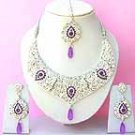Indian Bridal Saree Jewelry Set Purple color Stones NP-263