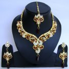 Indian Bridal Wedding Jewelry Set Diamond and Maroon color stones NP-442