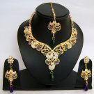 Indian Bridal Wedding Jewelry Set Diamond and Multi color stones NP-444