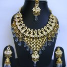 Indian Bridal Wedding Jewelry Necklace Set Diamond and Blue stones NP-452