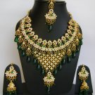 Indian Bridal Wedding Jewelry Necklace Set Diamond and Multicolor stones NP-453