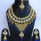 Indian Bridal Wedding Jewelry Necklace Set Diamond and Blue color stones NP-454