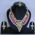 Indian Bridal Wedding Jewelry Necklace Set Pearl and Pink color stones NP-455