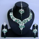 Indian Bridal Wedding Jewelry Set Diamond and Green color stones NP-461