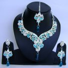 Indian Bridal Wedding Jewelry Set Diamond and Blue color stones NP-463