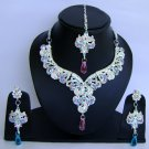 Indian Bridal Wedding Jewelry Set Diamond and Purple color stones NP-464