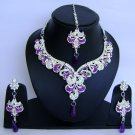 Indian Bridal Wedding Jewelry Set Diamonds and Purple color stones NP-465