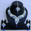 Indian Bridal Wedding Jewelry Set Diamonds and Blue color stones NP-466
