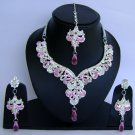 Indian Bridal Wedding Jewelry Set Diamonds and Purple color stones NP-468