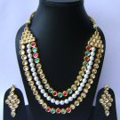 Indian Bridal Wedding Jewelry Set Diamonds and Multicolor stones NP-507