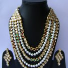 Indian Bridal Wedding Jewelry Set Diamonds and Multicolor stones NP-517