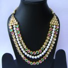 Indian Bridal Wedding Jewelry Set Diamonds and Multicolor stones NP-512