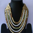 Indian Bridal Wedding Jewelry Set Diamonds and Multicolor stones NP-522