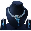 Indian Bridal Wedding Jewelry Set Diamonds and Blue color stones NP-524