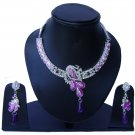 Indian Bridal Wedding Jewelry Set Diamonds and Lilac stones NP-526