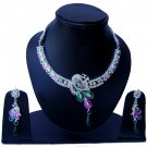 Indian Bridal Wedding Jewelry Set Diamonds and Multicolor stones NP-527