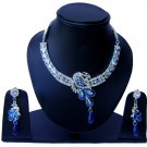 Indian Bridal Wedding Jewelry Set Diamonds and Blue color stones NP-528