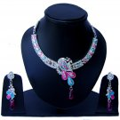 Indian Bridal Wedding Jewelry Set Diamonds and Multicolor stones NP-529
