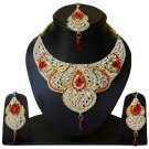 Indian Bridal Wedding Jewelry Set Diamonds and Red color stones NP-601
