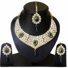 Indian Bridal Wedding Jewelry Set Diamonds and Green stones NP-603