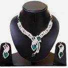 Indian Bridal Wedding Jewelry Set Diamonds and Green stones NP-604