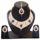 Indian Bridal Wedding Jewelry Set Diamonds and Blue stones NP-605