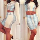 Sky Blue Snakeskin High Waisted Skirt Set