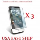 3 units HTC Legend Clear Screen Protector Guard LCD Cover.