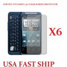 6 units HTC Evo Shift 4g  Clear Screen Protector Guard LCD Cover.